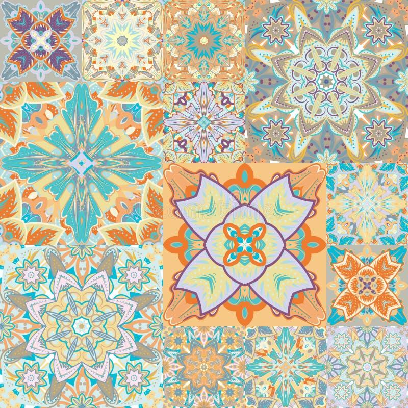 seamless modell patchwork i arabisk stil abstrakt illustration royaltyfri illustrationer