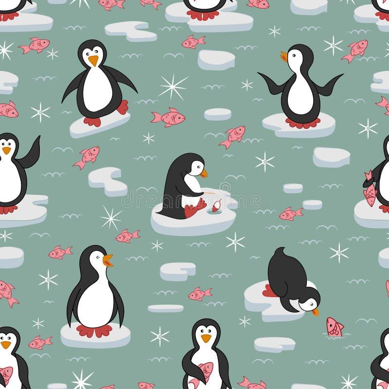 seamless modell Pingvin på isisflaken vektor illustrationer