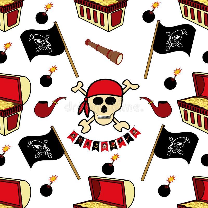 seamless modell Piratkopiera symbol-svärd, skattbröstkorgen, skallen och ben, det röka röret, flaggan, krok Ändlös bakgrund för d royaltyfri illustrationer