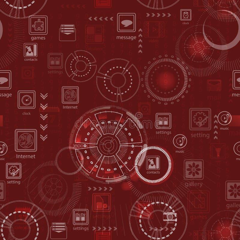 seamless modell rött teknologibegrepp royaltyfri illustrationer