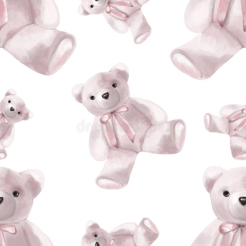 seamless modell red steg Björnar för stil för vattenfärg utdragna rosa välfyllda vektor illustrationer