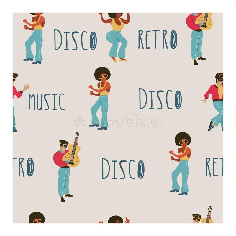seamless modell retro deltagare Idérikt akvarium med lilla goldfis Retro utforma illustrationen Musik och dans i retro stil Jazzm vektor illustrationer