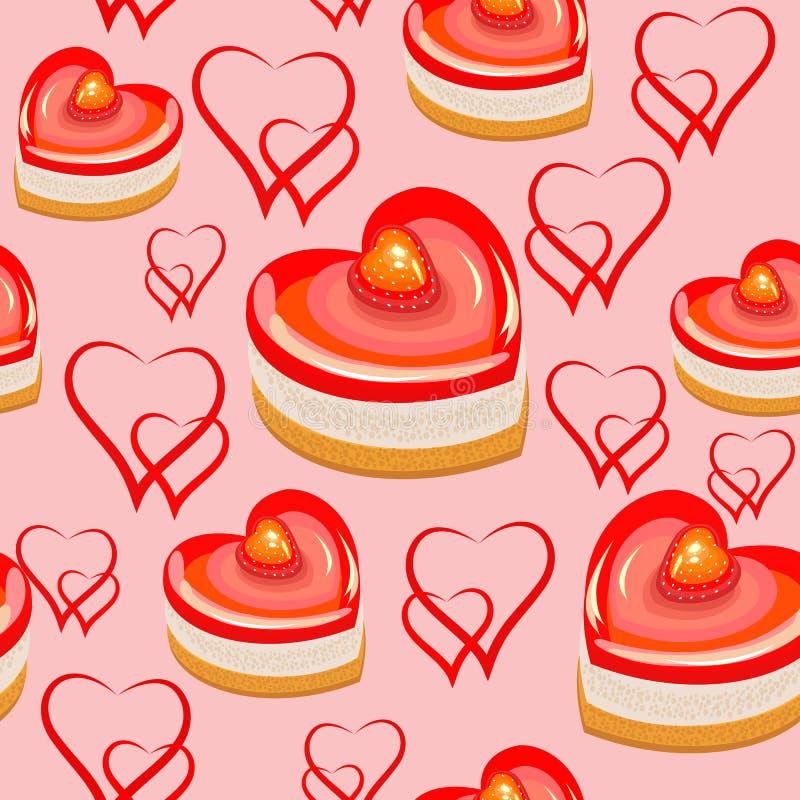 seamless modell Söta kakor i formen av hjärta Passande som tapeten, som en gåvainpackning för valentin dag Skapar a stock illustrationer