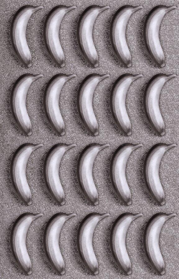 seamless modell Silverfärgmat, banan på blänker eller skimrar bakgrund Den moderiktiga tropiska lägenheten lägger id?rikt begrepp royaltyfri fotografi