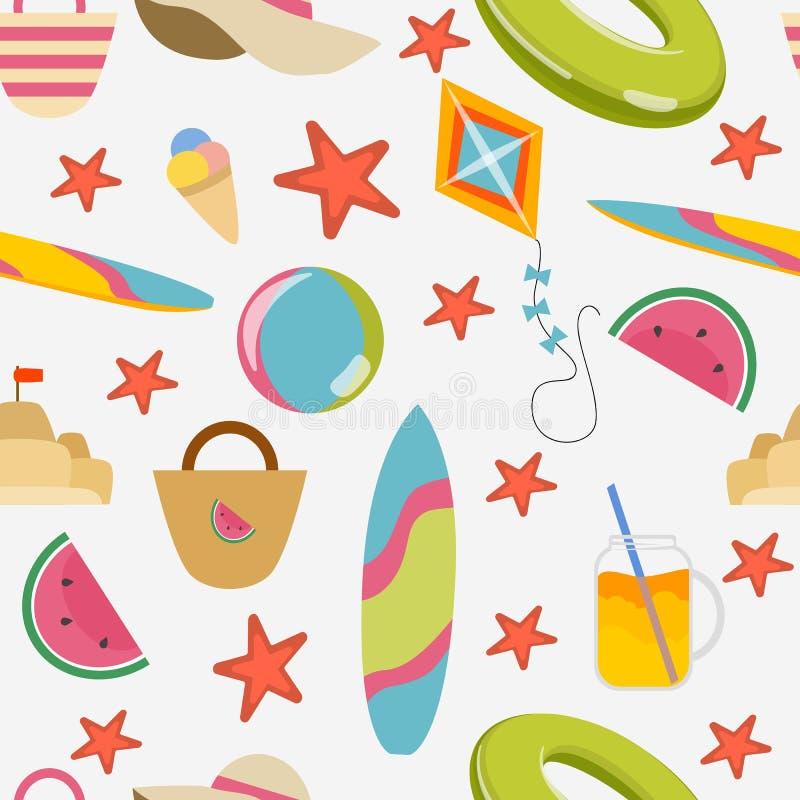 seamless modell Sommarobjekt: simma cirkeln, surfingbräda, hatt, påsar, coctail och glass, vattenmelon och sjöstjärna royaltyfri illustrationer