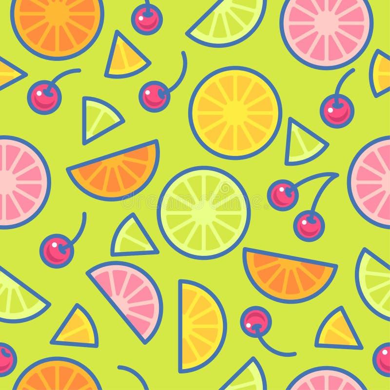 seamless modell Stycken av apelsiner, limefrukter, citroner och körsbär på en grön bakgrund stock illustrationer