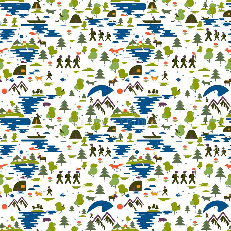 seamless modell Symboler av turism i natur, familjen går på en vandring, ecotourism, en fiskare i ett fartyg, natur skriver: berg royaltyfri illustrationer