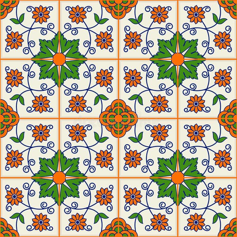seamless modell Turk som är marockansk, portugistegelplattor, Azulejo, prydnader islamisk konst vektor illustrationer