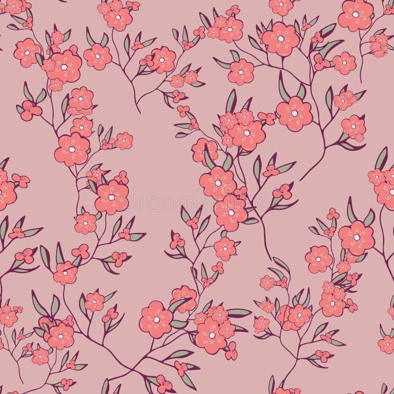 seamless modell vårfilialer, blommor på rosa bakgrund klotter Handteckningsvektor blom- design för textil, bröllop, royaltyfri illustrationer