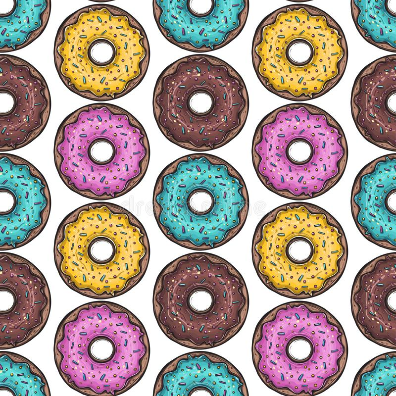 seamless modell vektor Kulöra donuts vektor illustrationer