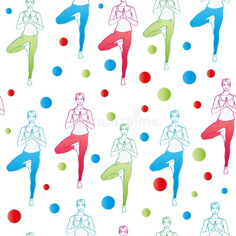 seamless modell Yoga poserar som sömlös bakgrund EPS JPG stock illustrationer