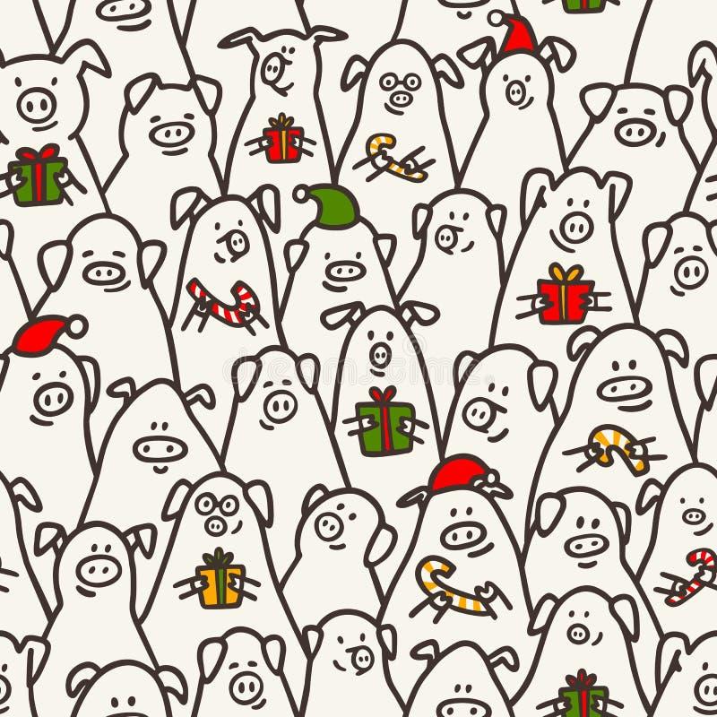 seamless modellpig Roliga svin med godisrottingar, gåvor och santa hattar 2019 kinesiska symboler för nytt år Klottra stil stock illustrationer