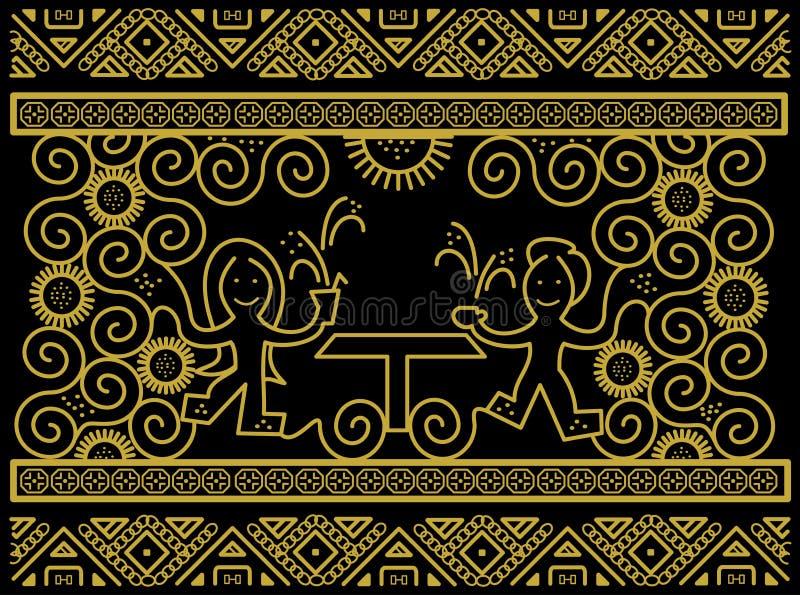 Seamless Modern Batik Pattern stock images