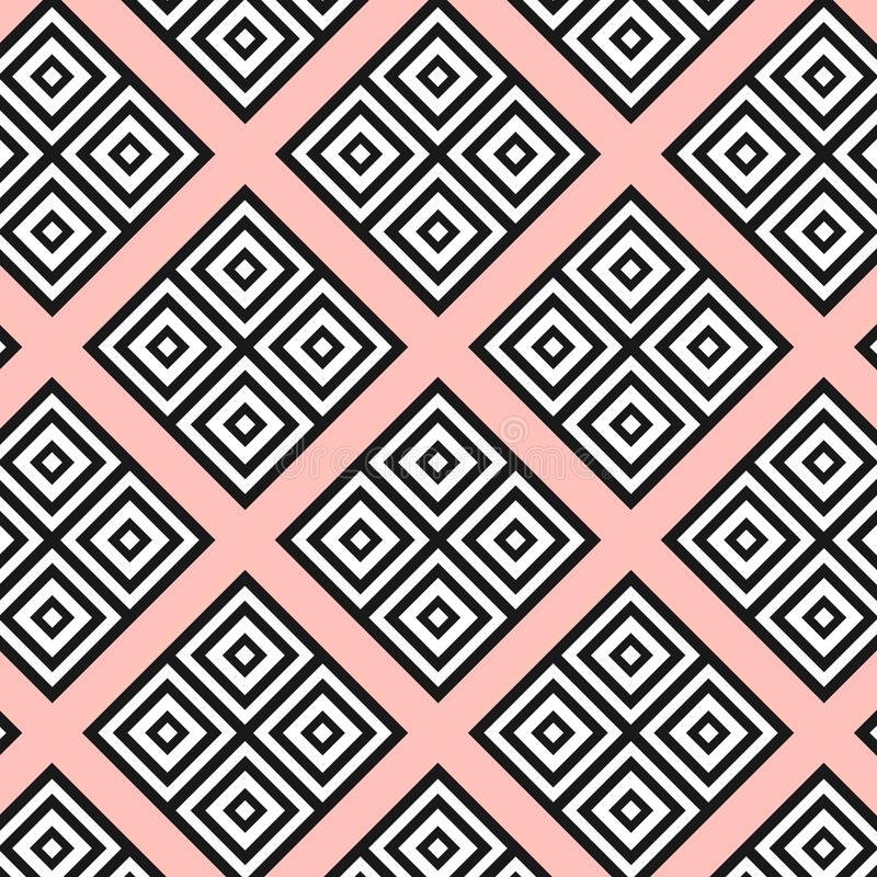 Seamless modern geometric texture squares on the pink background. Black on white shapes. rombs, square. textile, fabric pattern. P stock illustration