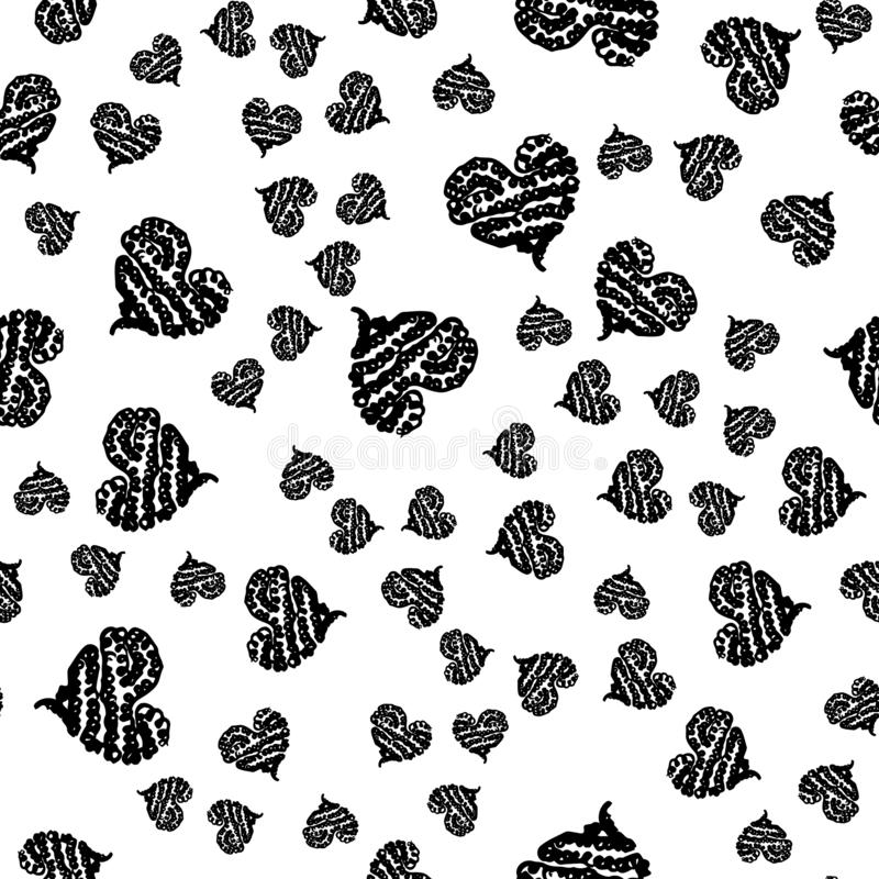 Seamless Modern grunge heart hand drawn set, great design for any purposes. Hand drawn doodle grunge heart set. Modern vector. Design. Seamless vector tile royalty free illustration
