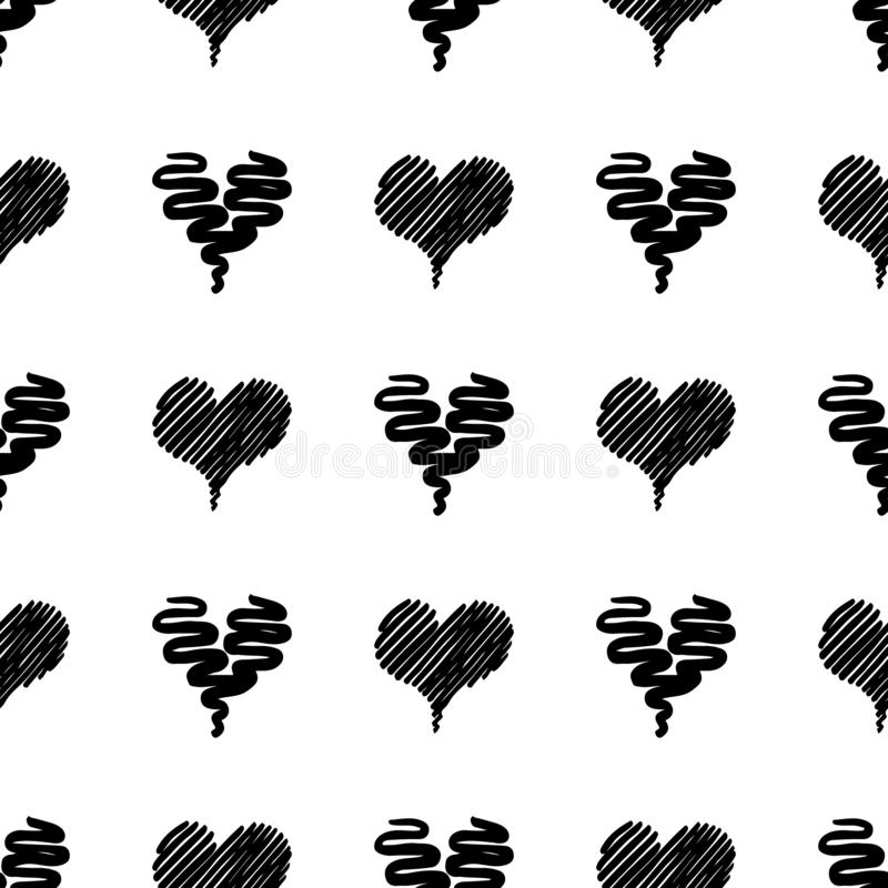 Seamless Modern grunge heart hand drawn set, great design for any purposes. Hand drawn doodle grunge heart set. Modern vector. Design. Seamless vector tile vector illustration
