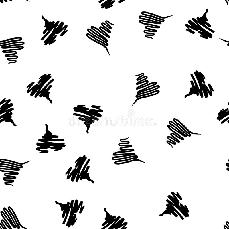 Seamless Modern grunge heart hand drawn set, great design for any purposes. Hand drawn doodle grunge heart set. Modern vector. Design. Seamless vector tile stock illustration