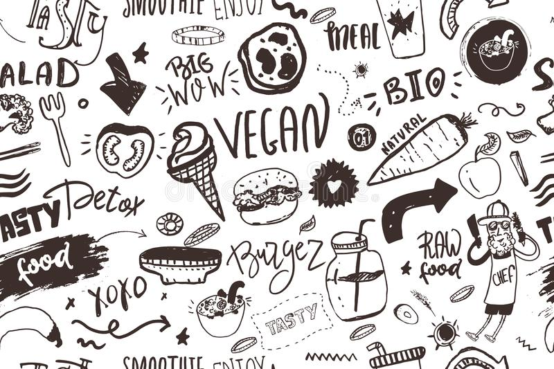 Seamless modern vegan pattern with healty food. Sketch hand drawn items. Hipster style. royalty free illustration