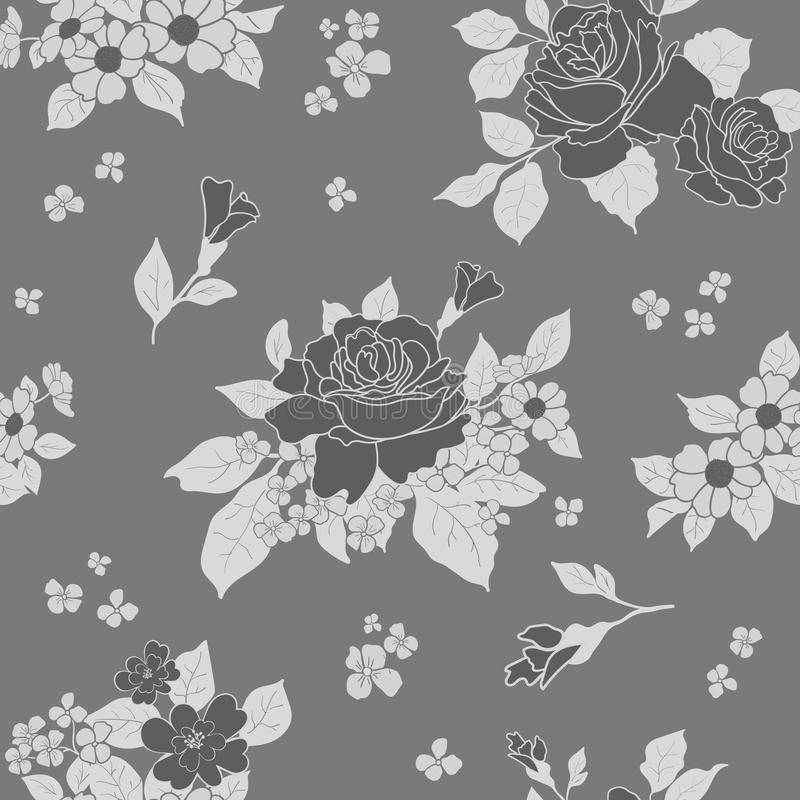 Seamless monochromatic gray scale luxury pattern - roses in blossom on gray background. Vector illustration. royalty free illustration