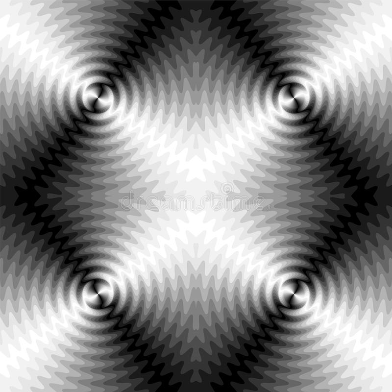 Seamless Monochrome Expanding Waves Intersect in the Center. Optical Volume Effect. The Visual Illusion Of Movement stock illustration