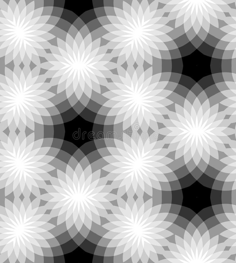 Seamless Monochrome Floral Pattern. Geometric Abstract Background. Suitable for textile, fabric and packaging vector illustration