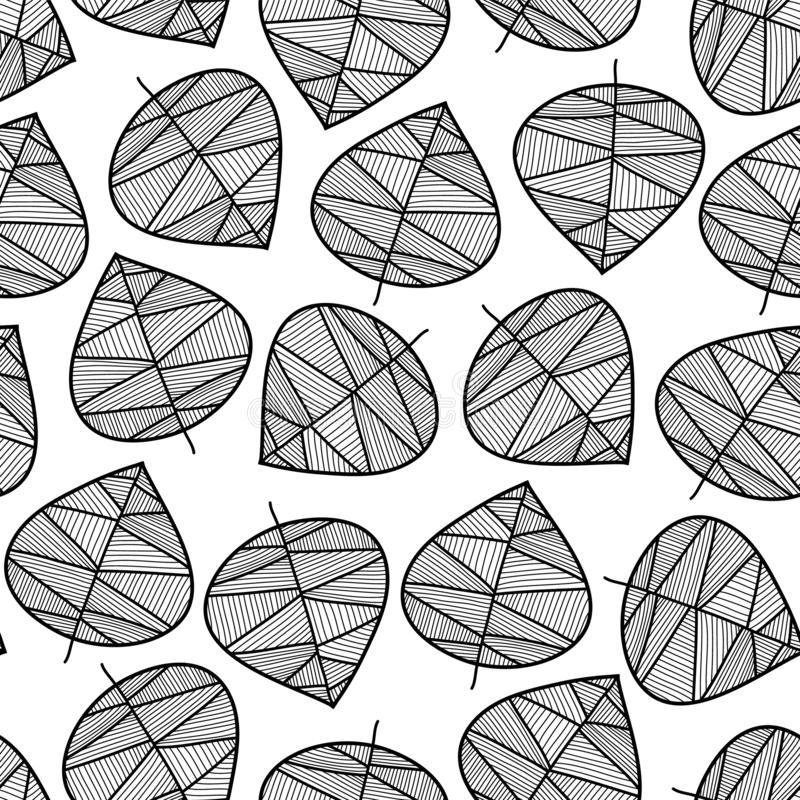 Seamless monochrome leaves vector background. Subtle abstract nature foliage pattern. Vector repeating texture stylized autumn stock illustration