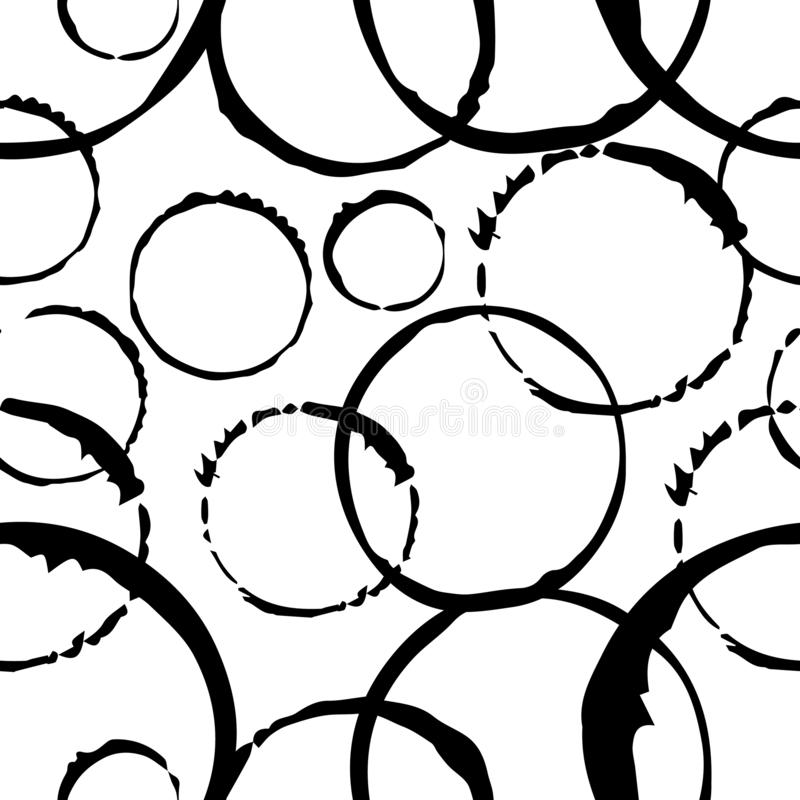 Seamless monochrome pattern. Abstract background. The imprint is round. Decorative print on a white background stock illustration