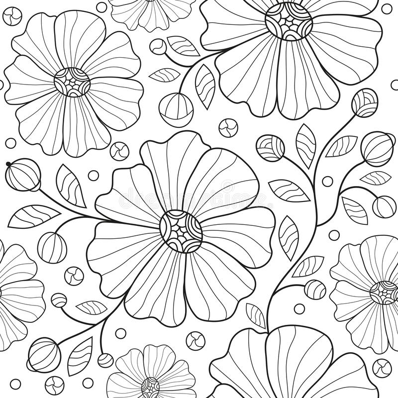Free Seamless Monochrome Pattern With Tracery Striped Flowers, Leaves Stock Photos - 145466233