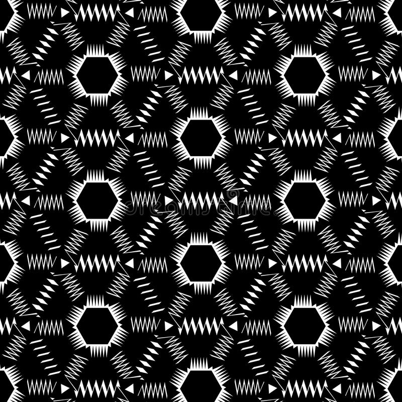 Seamless Monochrome Pattern With Zigzags. Is monochrome illustration. May be useful for print, fabric, tapestry, craftsmanship, scrap-booking etc vector illustration