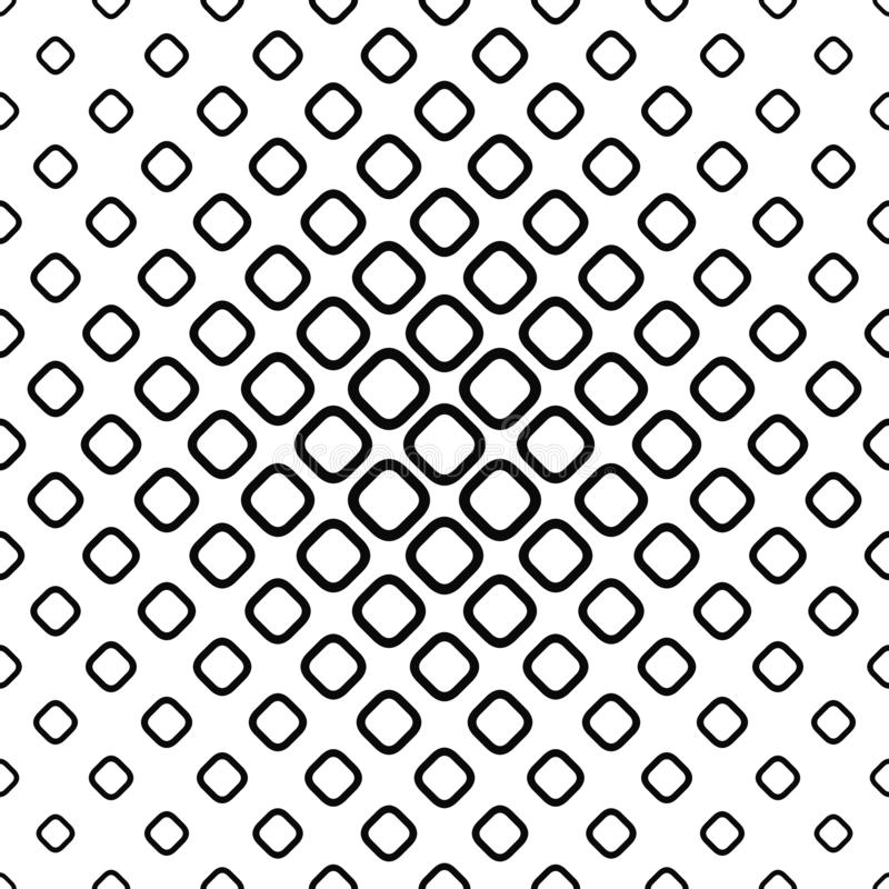 Seamless monochrome rounded square pattern. Design vector background stock illustration