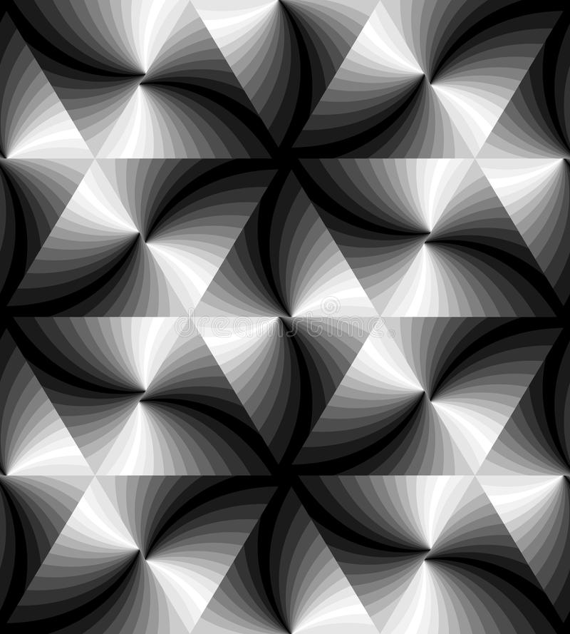 Seamless Monochrome Wavy Triangles Pattern. Geometric Abstract Background. Suitable for textile, fabric, packaging. And web design. Vector Illustration royalty free illustration