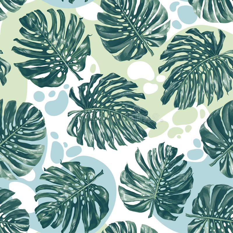 Seamless pattern with color splashes and monstera leaves in realistic style and high detail. royalty free illustration