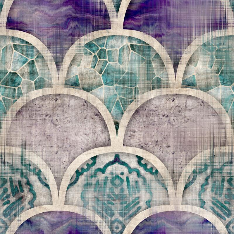 Free Seamless Moroccan Inspired Highly Textured Pattern For Surface Print Stock Photography - 221455772