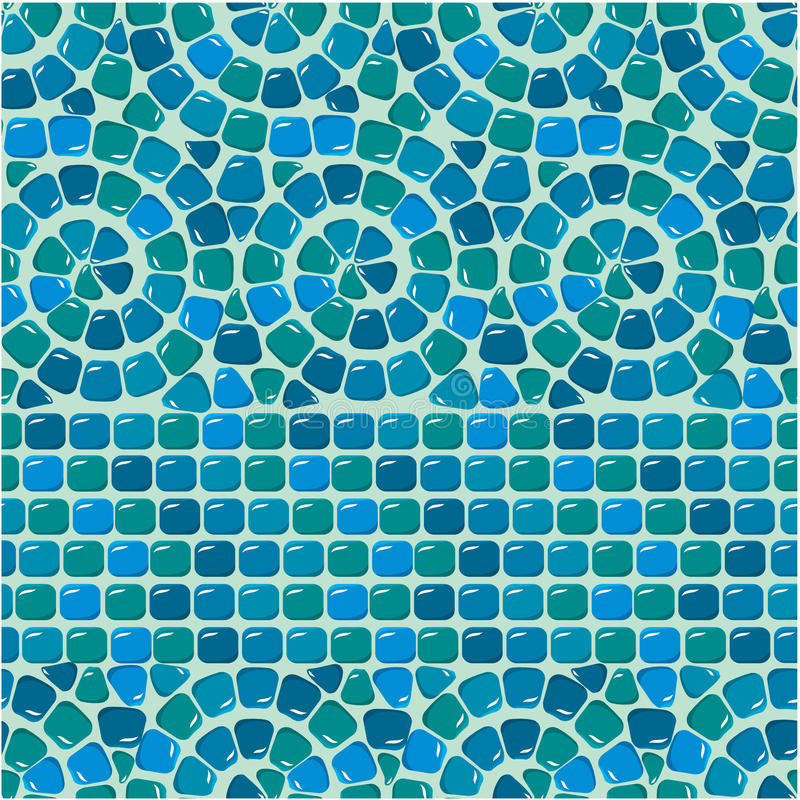 Seamless mosaic pattern - Blue ceramic tile. Classical geometric ornament. Ready to use as swatch vector illustration