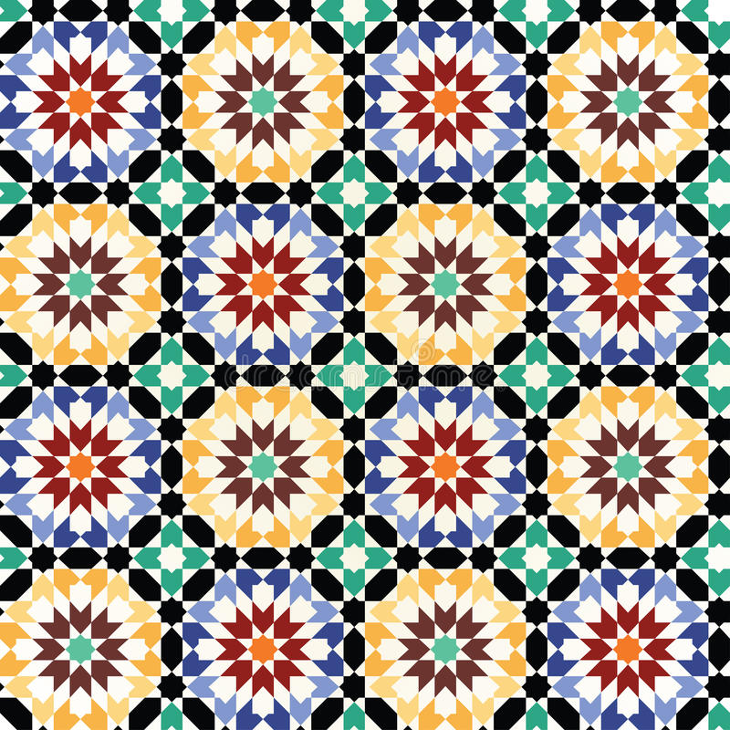 Seamless mosaic tile pattern vector stock illustration