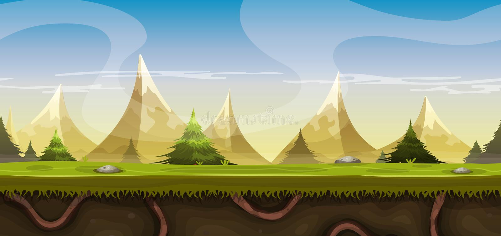 Seamless Mountains Landscape For Game Ui vector illustration