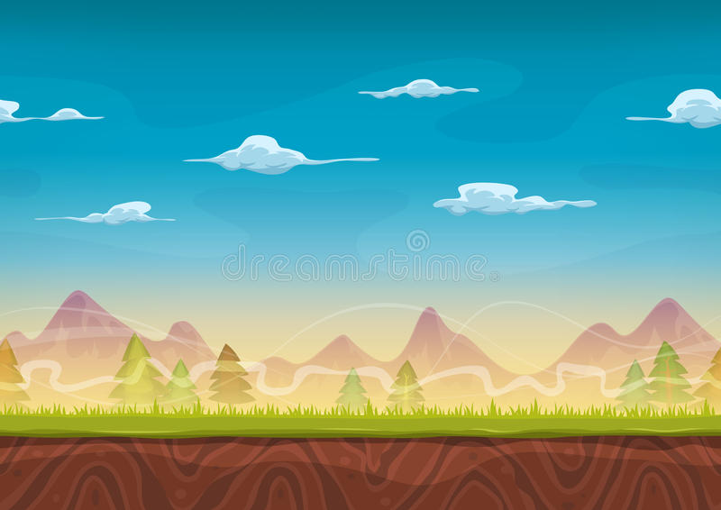 Seamless Mountains Landscape For Ui Game vector illustration
