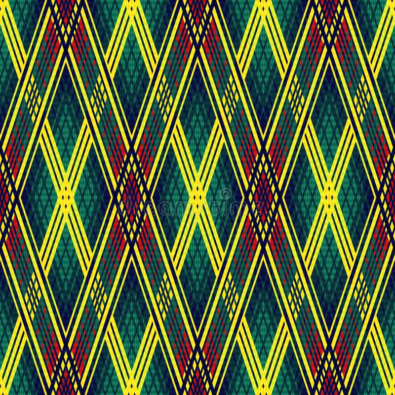 Seamless multicolor rhombic pattern. Seamless rhombic multicolor pattern in bright yellow, red, blue and turquoise colors, vector as a fabric texture stock illustration