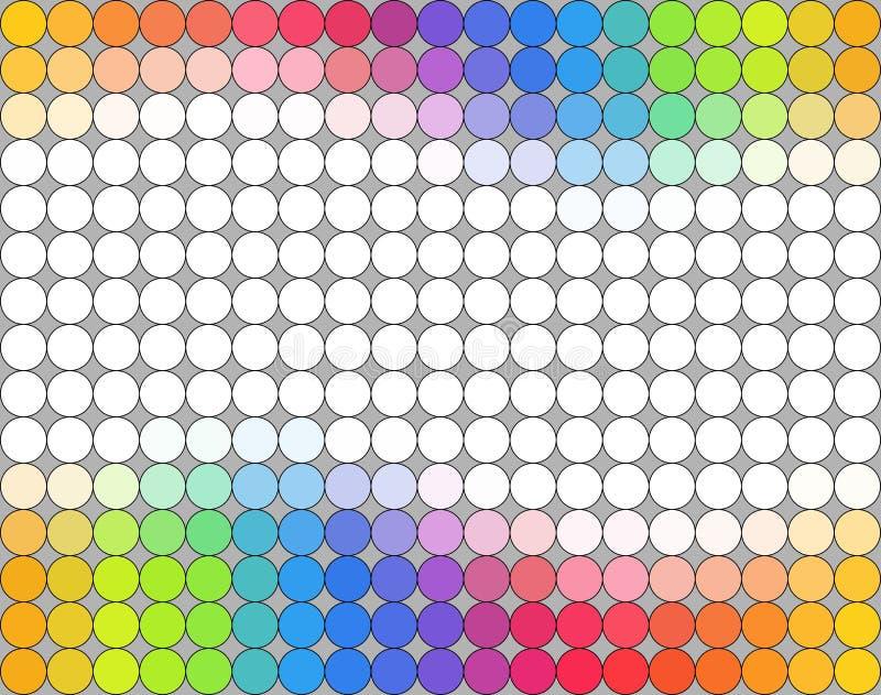 Seamless multicolored polka dot pattern over grey background stock illustration
