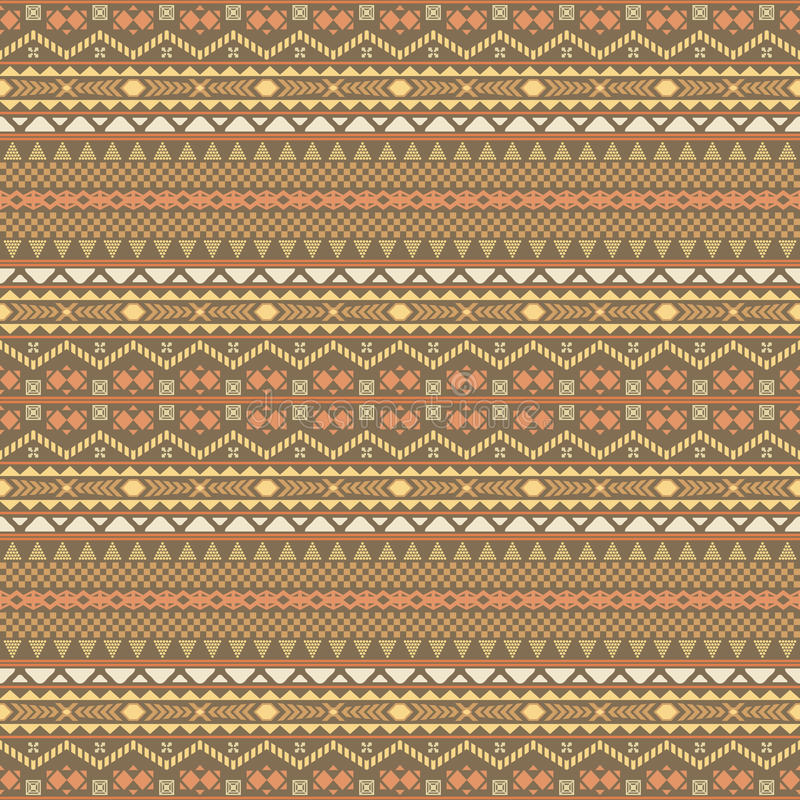 Seamless multielement pattern with ethnic motifs. Seamless pattern with ethnic motifs in brown, orange, yellow colors. Horizontal chain of various geometric royalty free illustration