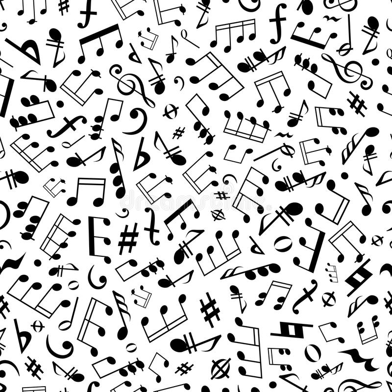 Seamless Music Notes And Marks Background Pattern Stock Vector