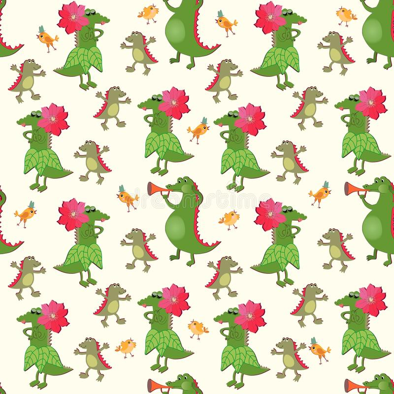 Seamless natural animal pattern with funny green crocodiles and little birds on light yellow background. Print for fabric for baby stock illustration