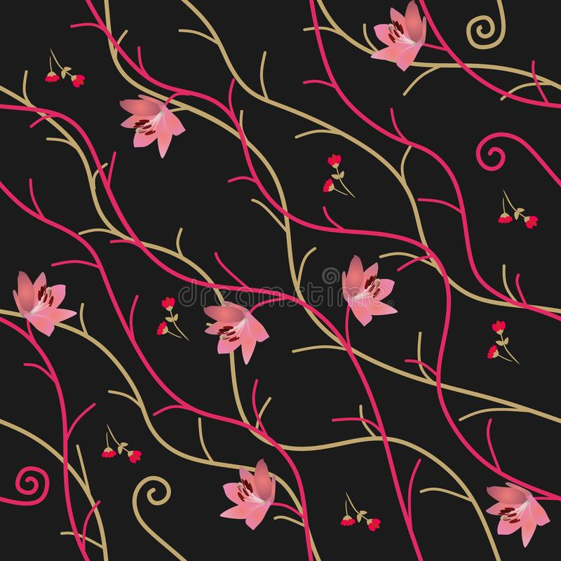 Seamless natural ornament with abstract branches, pink lily flowers and red buds on black background in vector. Print for fabric stock illustration