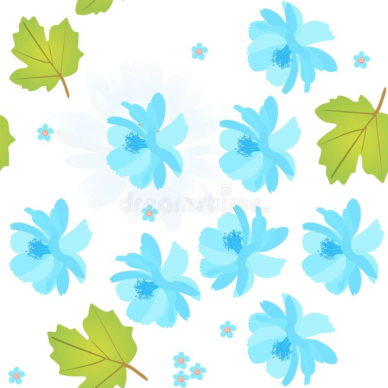 Seamless natural pattern with blue cosmos and forget me not flowers, viburnum leaves on white background. Spring vector design vector illustration