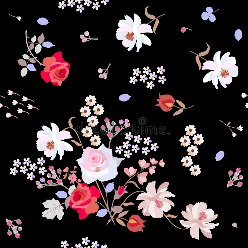 Seamless natural pattern with cute garden flowers on black background. Ditsy floral backdrop in vector. Red and pink roses, white cherry and cosmos flowers royalty free illustration