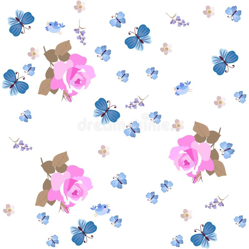 Seamless natural pattern with pink roses, lilac bell flower, little birds and blue butterflies isolated on white background. Print royalty free illustration