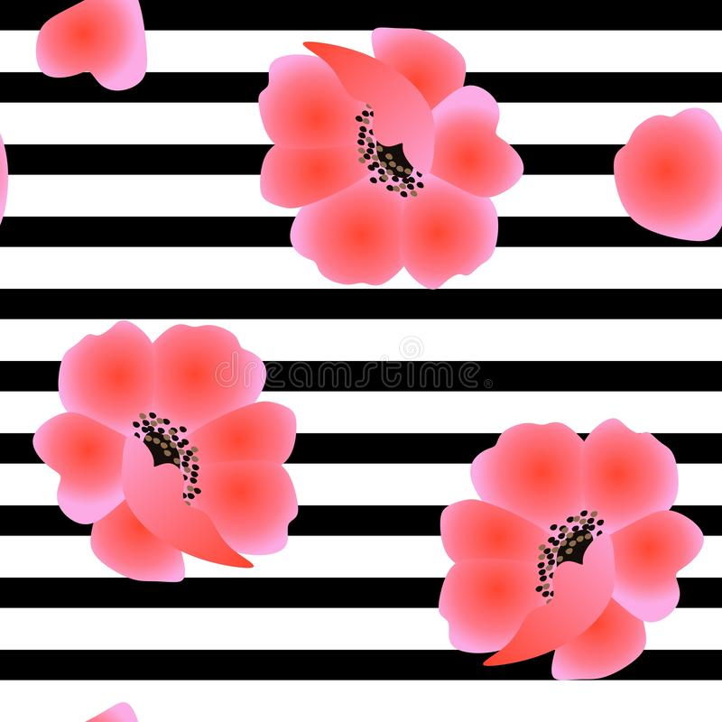 Seamless natural pattern with red poppy flowers on black and white striped pattern. Print for fabric stock illustration