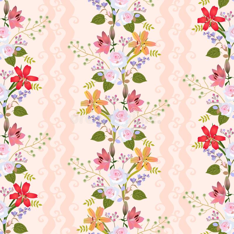 Seamless natural pattern with romantic floral wreath of lilies, roses, bell flowers, buds of spirea and branches with berries royalty free illustration