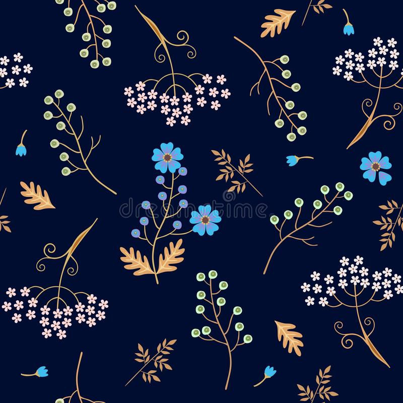 Seamless natural pattern with umbrella and flax flowers, leaves and bird cherry berries isolated on dark blue background in vector stock illustration