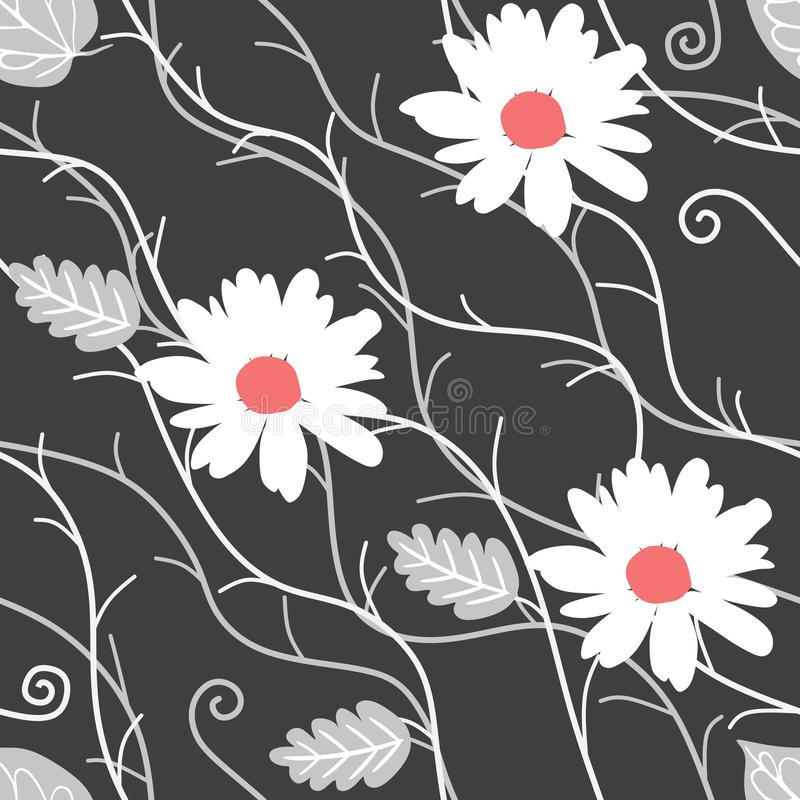 Seamless natural pattern with white daisy flowers, silver leaves and abstract branches on black background in vector. stock illustration